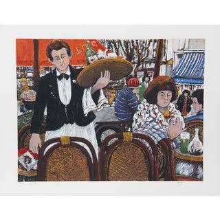David Azuz, Cafe La Rontonde Montparnasse, Lithograph For Sale