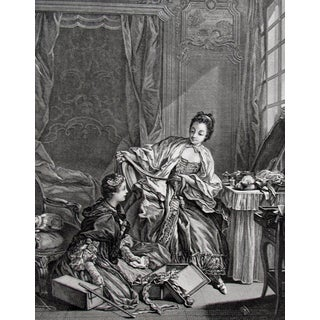 1856 Vintage Rococo Fabric Merchant Engraving For Sale