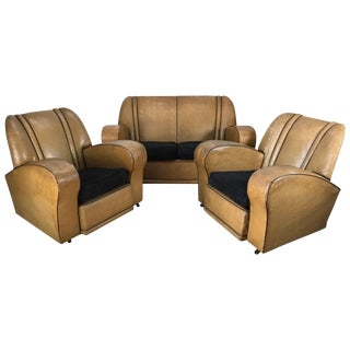 European Art Deco Suite Matching Sofa and Club Chairs - 3 Pieces For Sale
