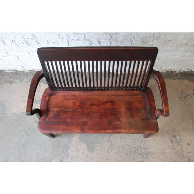 Antique Mahogany Banker's Bench by Milwaukee Chair Company, Circa 1900 For  Sale In South Bend - Antique Mahogany Banker's Bench By Milwaukee Chair Company, Circa