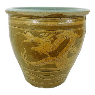 """Early 20th Century Glazed Chinese Ceramic """"Dragon"""" Planter For Sale"""