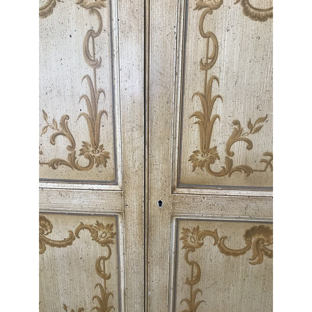 Wood Vintage Baker Furniture Co. Painted Wardrobe Armoire For Sale - Image 7 of 13