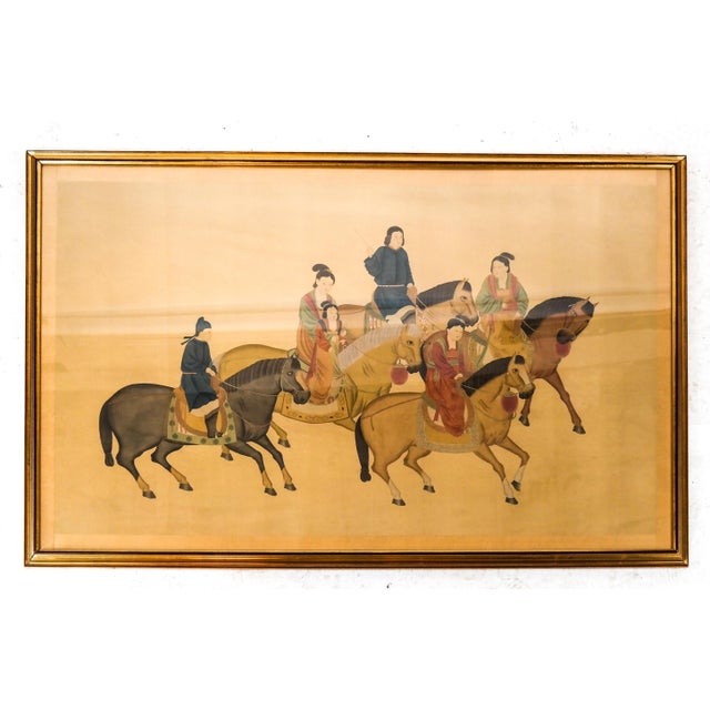 Large Chinese Painting on Silk, Women on Horseback For Sale - Image 4 of 12