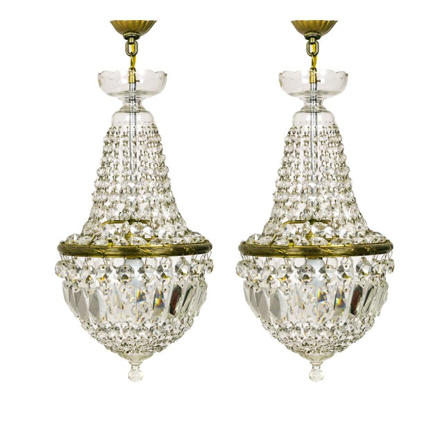 Petite Crystal Basket Chandeliers (Pair) For Sale - Image 10 of 10