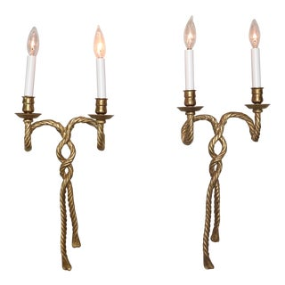 Pair of Late 19th Century French Louis XVI Style Gilt Bronze Twist Rope Sconces For Sale