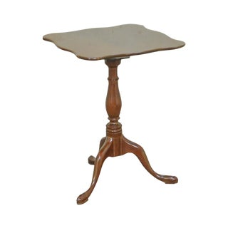 Norris Reproduction Solid Mahogany Queen Anne Tilt Top Side Table Candle Stand For Sale