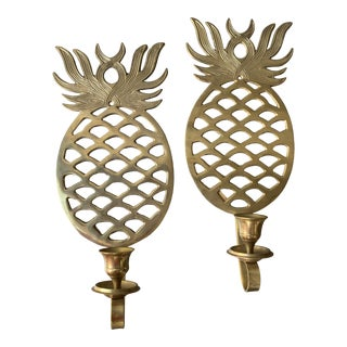 1980s Brass Pineapple Wall Sconces - a Pair For Sale