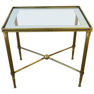 Midcentury Italian Brass and Glass End or Side Table For Sale