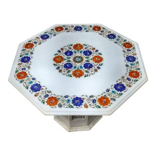 Marble Inlaid Coffee Tabletop 24 Inches With Lattice Art Pedestal For Sale