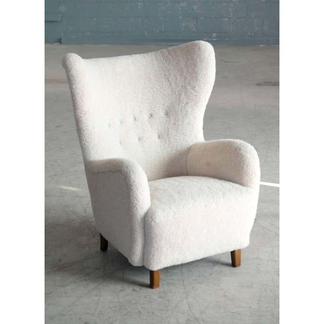 High Back Lounge Chair in Lambswool Danish 1940's Attributed to Flemming Lassen For Sale - Image 10 of 11
