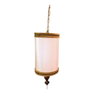 1970s Regency Ivory Linen-Type Hanging Lamp
