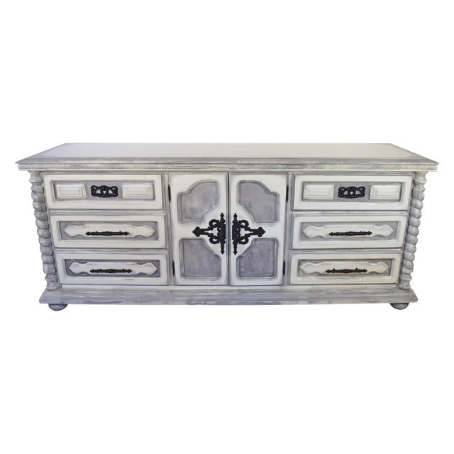 Spanish Style White Wash Dresser For Sale