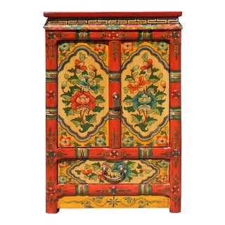Orange Yellow Tibetan Floral End Table Nightstand Cabinet For Sale