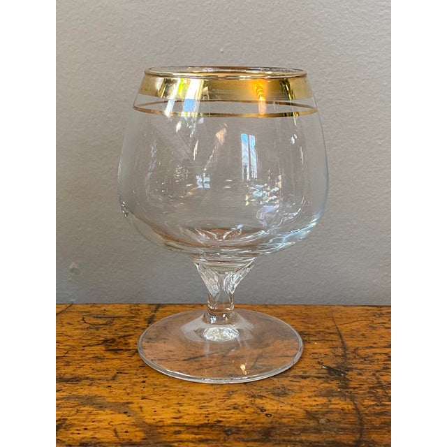 Mid-Century Modern Vintage Crystal Snifter Glasses With Gold Rim - Set of 6 For Sale - Image 3 of 5