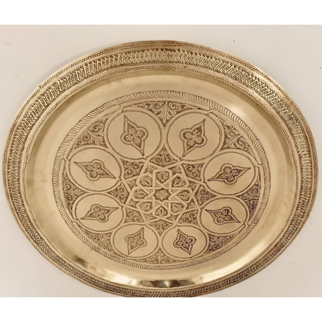 Moroccan Polished Round Brass Tray For Sale - Image 13 of 13