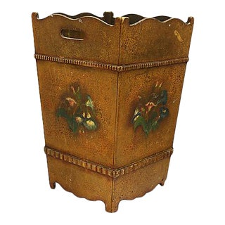 Antique French Hand-Painted Trash / Waste Bin For Sale