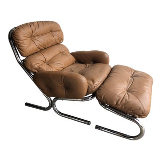 Milo Baughman for Directional Leather & Chrome Chair & Ottoman For Sale