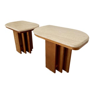 1970s Travertine Top End Tables - a Pair For Sale