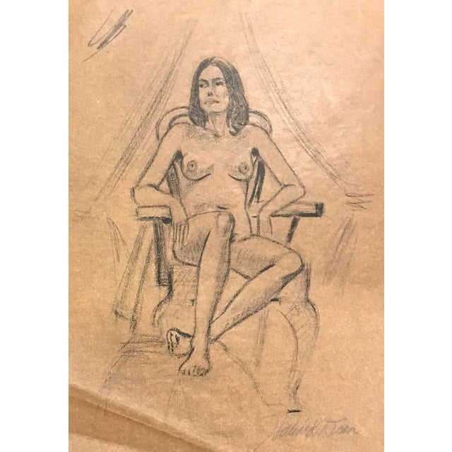 Contemporary 1970s Hilliard Dean Female Nude Drawing For Sale - Image 3 of 5