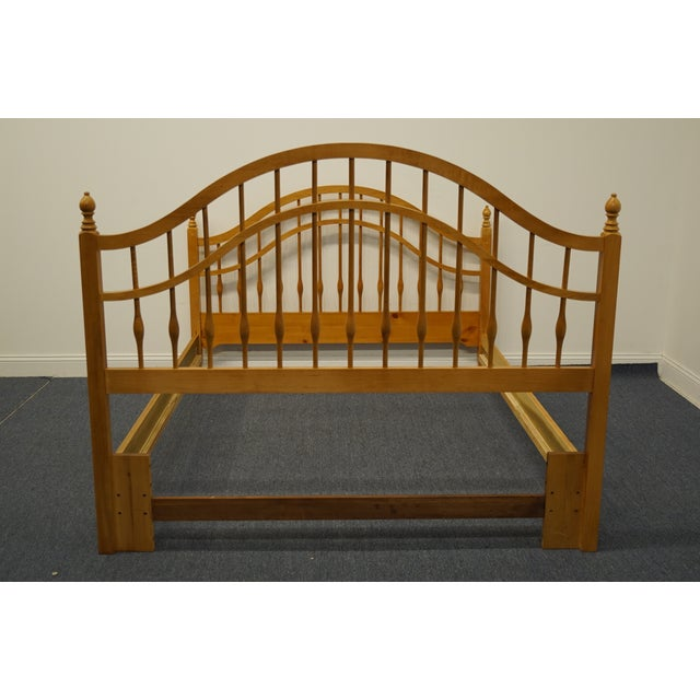 Wood Vintage Thomasville Furniture Solid Knotty Pine Queen Size Spindle Bed For Sale - Image 7 of 10