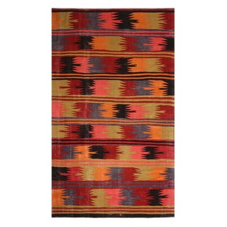 Vintage Mid-Century Afyon Geometric Multicolor Wool Kilim Rug-6′ × 9′7″ For Sale