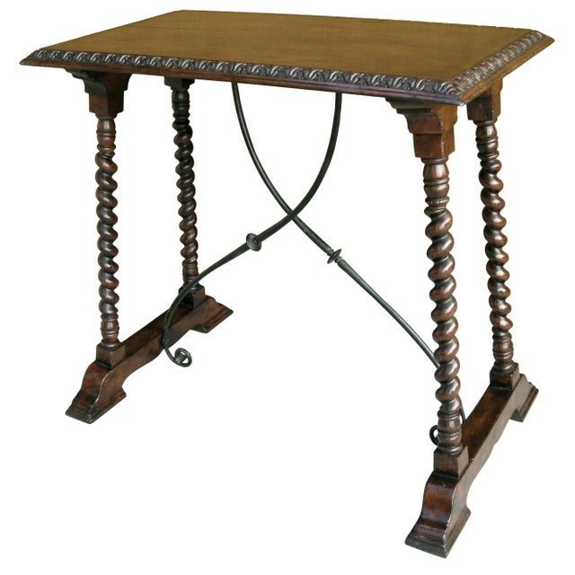 2010s Carved Italian Walnut & Wrought Iron Sorrento Side Table by Randy Esada For Sale - Image 5 of 5