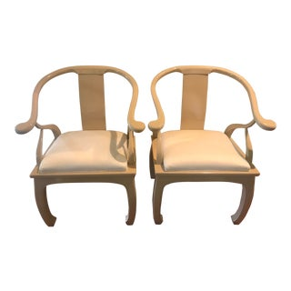 Vintage Cream James Mont Style Ming Horseshoe Lounge Chairs - a Pair For Sale
