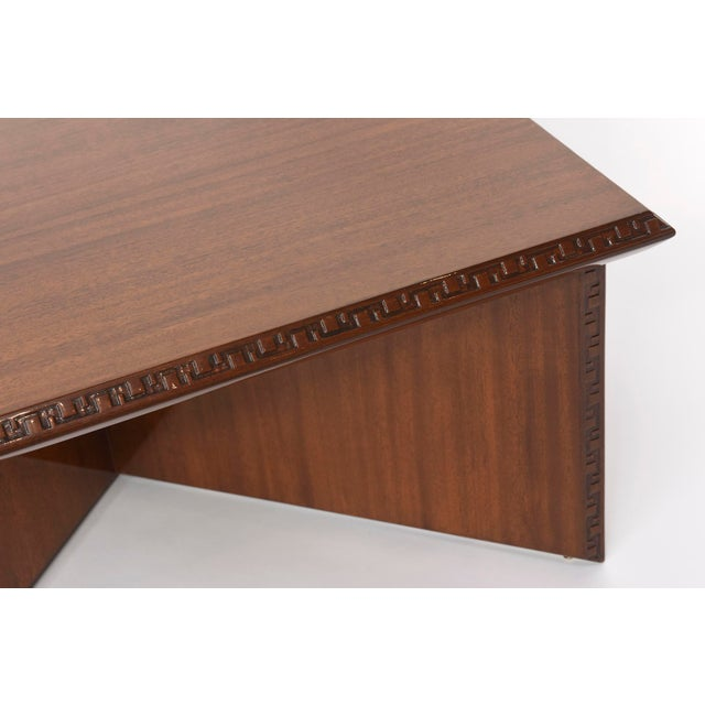 "Wood Pair of American Modern Triangular ""Talesin"" Low Tables, Frank Lloyd Wright For Sale - Image 7 of 9"