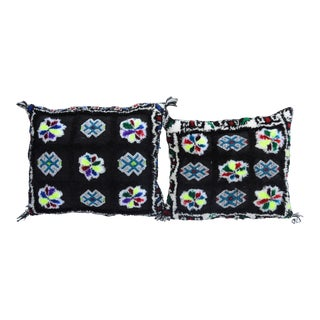 Vintage Berber Patterned Moroccan Colorful Pillows- a Pair For Sale