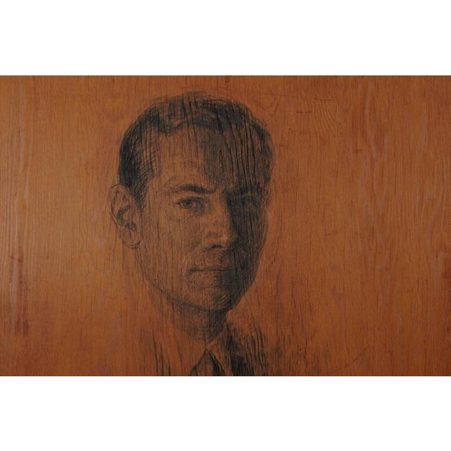 Rarel pencil drawing on wood board of a distinguished gentleman, by Raul Manteola, New York, 1964. Signed and dated lower...