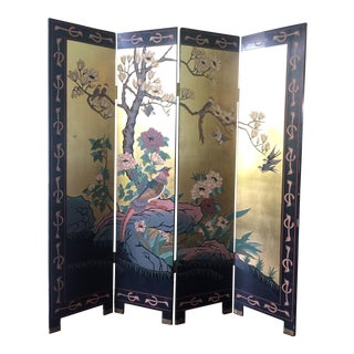 Mid Century Chinese Chinoiserie Coromandel 4 Panel Folding Screen For Sale