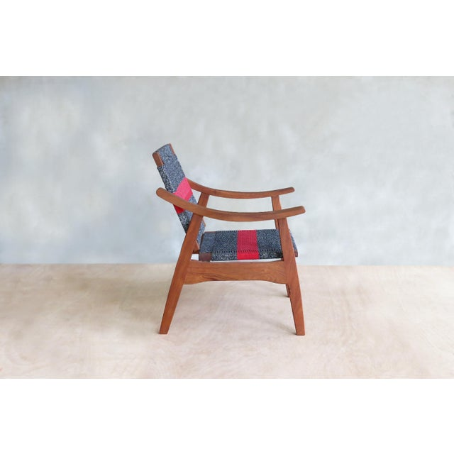 Handwoven Granito & Red Stripe Chair - Image 3 of 6