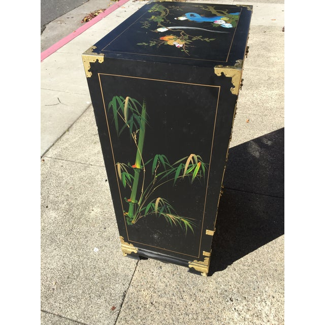 Wood Hand Painted Chinese Chinoiserie Jewelry Chest For Sale - Image 7 of 8