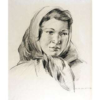 Portrait Drawing in Pencil of Young Woman For Sale
