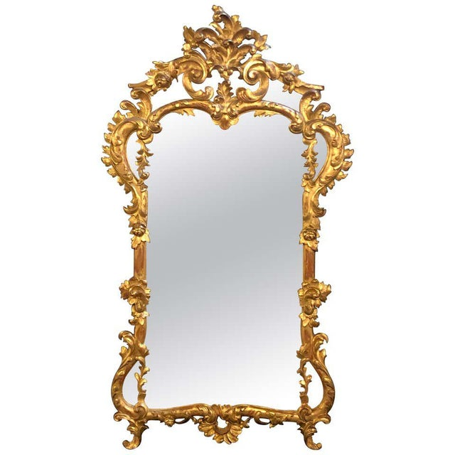 19th Century Gilt Mirror Wall or Console Mirror, French Finely Carved For Sale - Image 12 of 12