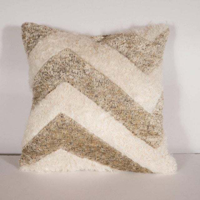 This stunning and elegant modernist pillow was custom designed in the United States. It features a solid back composed of...