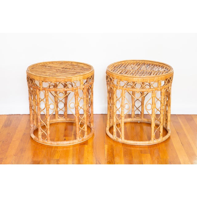 1980s Vintage Boho Chic Rattan Bamboo Side Tables - a Pair For Sale - Image 5 of 5