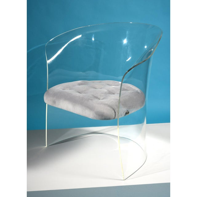 Vladimir Kagan 1960s Formed Lucite Chair With Tufted Seat For Sale In Detroit - Image 6 of 8