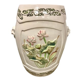 Chinese Porcelain Garden Stool With Lilies and Lions For Sale