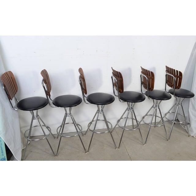 Arthur Umanoff Style Black Leather Slat Back Bar Stools - Set of 6 For Sale In Washington DC - Image 6 of 9