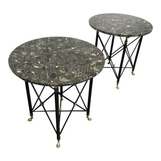 1960s Vintage Round Stone Side Tables - A Pair
