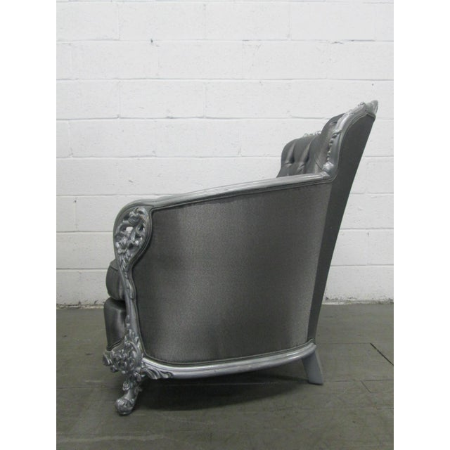 Rococo Carved Rococo Style Silver Tufted Chair For Sale - Image 3 of 8