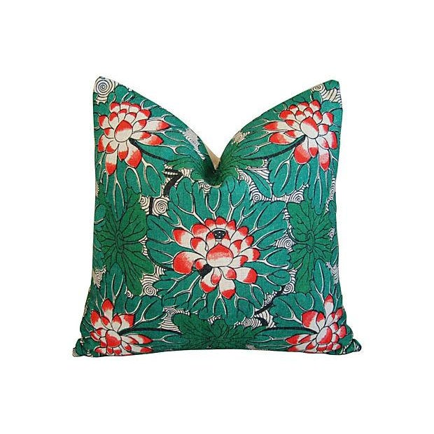 Custom Chinese Lotus Blossom Linen Pillows - Pair - Image 2 of 6