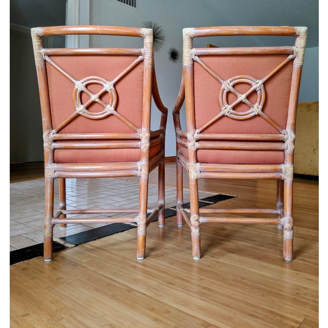 McGuire 1970s Vintage McGuire Rattan Armchairs- Set of 4 For Sale - Image 4 of 12
