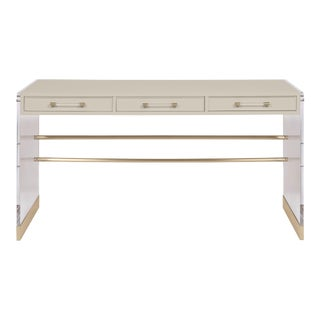 Casa Cosima Arden Desk with Taper Leg Base, Revere Pewter For Sale