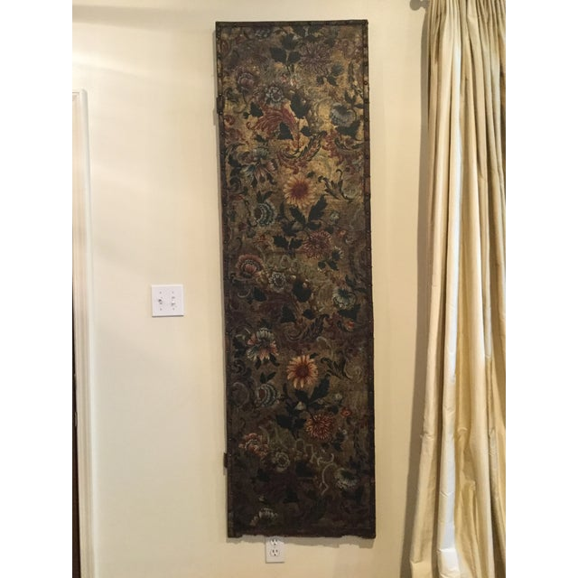 Antique French Handpainted Leather Screen Panel - Image 2 of 6