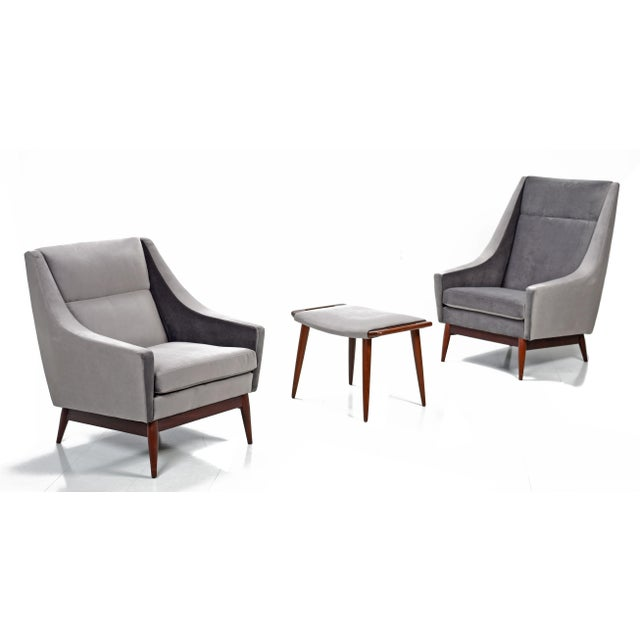 Restored Mid Century Modern 2 Chairs & Ottoman Set For Sale In Tampa - Image 6 of 7