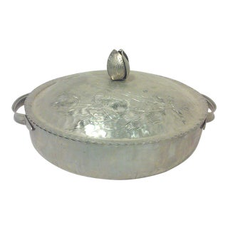 Hammered Aluminum covered Dish with Engraved Tulip Design For Sale
