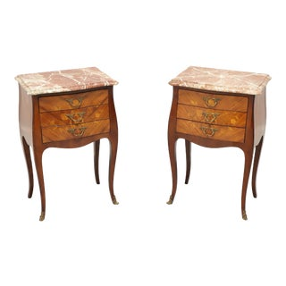 Antique French Louis XV Inlaid Marquetry Marble Top Side Tables - Pair For Sale