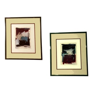 Late 20th Century Abstract Monotype Prints by Marilyn Bergstrom, Framed - a Pair For Sale